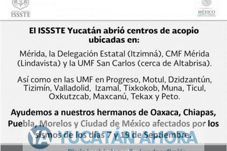ISSSTE Yucatán acopia víveres para enviar a damnificados