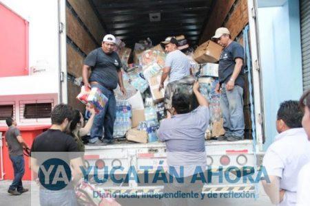 Ayuntamiento de Mérida lleva 63 toneladas de víveres enviados a zonas afectadas por el temblor