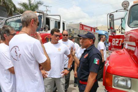 Sorprende a los bomberos suizos, las capacidades de los tragahumos yucatecos