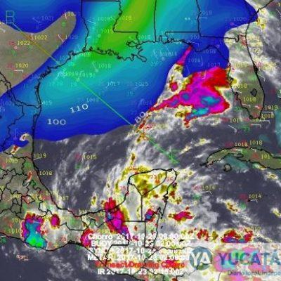 Lluvias sitian Yucatán; en el Caribe onda tropical; por el Golfo un norte