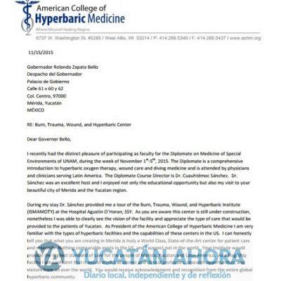 Rolando Zapata desoyó a especialistas en medicina hiperbárica