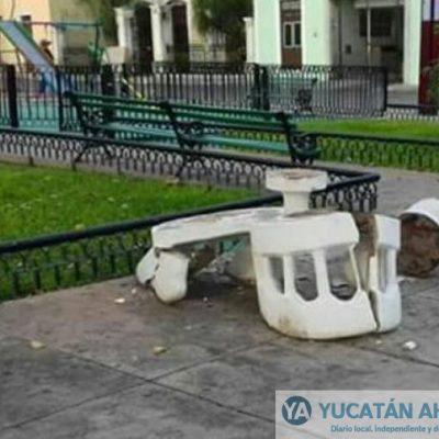 Otro acto vandálico en parques de Mérida, ahora en La Ermita