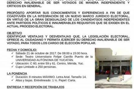 Independientes convocan a foro sobre legislación electoral