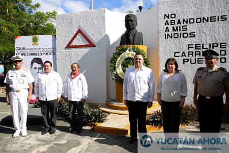 Encabeza Rodríguez Asaf ofrenda floral a Felipe Carrillo Puerto