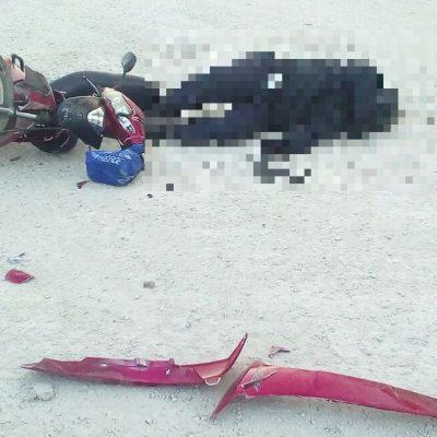 Fuerte aporreón de cabeza mata a motociclista en accidente carretero