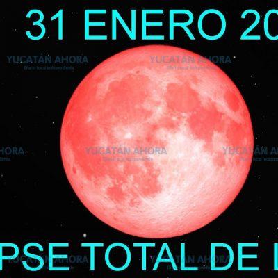 Este miércoles 31 de enero, el primer eclipse de Luna de 2018