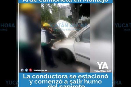 Arde camioneta familiar en Paseo de Montejo