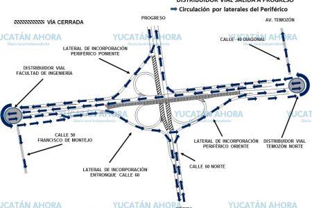 Informan de vialidades alternas ante cierre parcial del distribuidor vial Periférico – Progreso