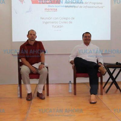 Renán apoyará su plan de infraestructura con el Colegio de Ingenieros