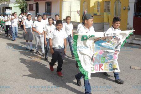 Niños y niñas piden a los ciudadanos no contaminar más Kanasín