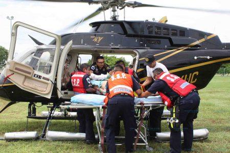 Por aire trae SSP a niña gravemente lesionada en Tizimín