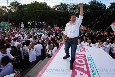 Exhibe el PRI su fuerza con 120 mil simpatizantes en el cierre de campaña de Mauricio Sahuí