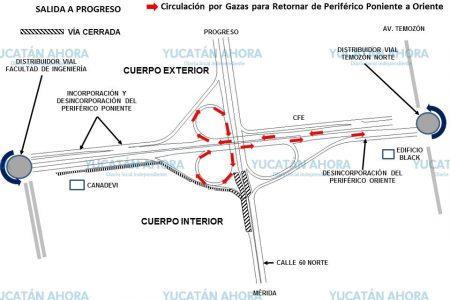 Temporal modificación a la vialidad en el puente Periférico – Progreso