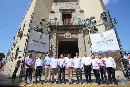 En marcha trabajos de mantenimiento a la fachada del edificio central de la Uady