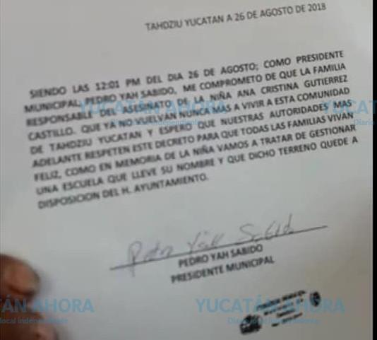 Alcalde de Tahdziú 'decreta' expulsión de la familia del asesino