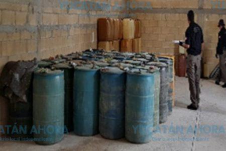 Quitan a 'huachicoleros' 12 mil litros de hidrocarburo que guardaban en Homún