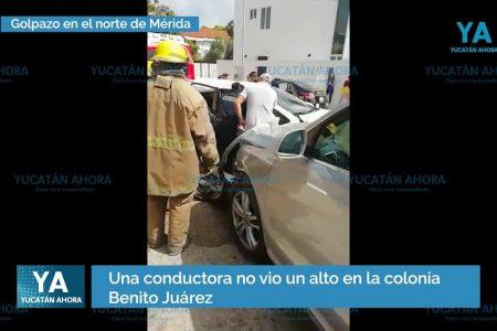 No vio un alto y propició aparatoso choque en el norte de Mérida