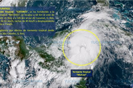 Se genera frente a costas de Quintana Roo la tormenta tropical 'Michael'