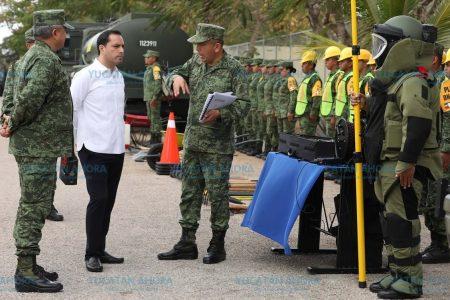 Mauricio Vila y mandos militares refrendan compromiso de mantener la seguridad en Yucatán