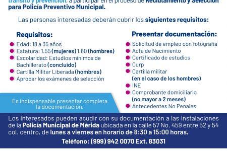 ¿Buscas trabajo? La Policía de Mérida tiene vacantes