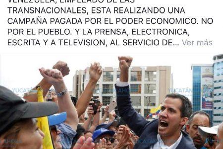 Funcionario de Yucatán manifiesta su apoyo a Nicolás Maduro