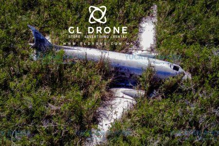 Dron capta inéditas fotos de avión de Pablo Escobar en Yucatán