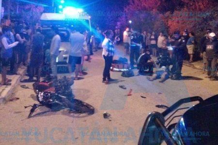 Motociclista ignora un alto y termina severamente lesionado