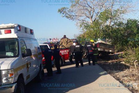 Se estrella camioneta con 1.5 toneladas de pescado: dos lesionados