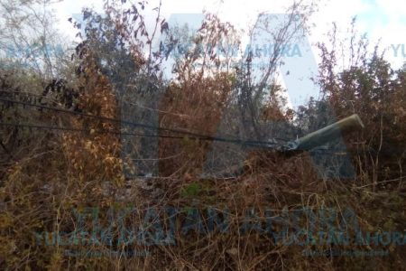 Otros dos postes de Telmex que arden en llamas: ahora en Cholul