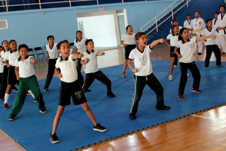 Escolares muestran sus conocimientos en TKD