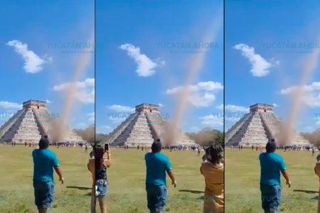 Tolvanera o 'diablo de arena', el fenómeno que se vio en Chichén Itzá