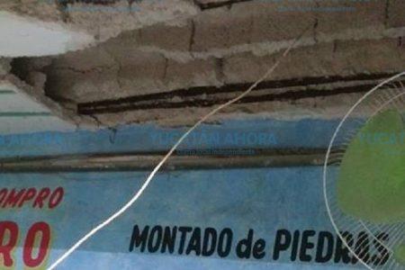 Colapsa parte del techo en local del mercado Lucas de Gálvez