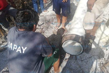 En tiempo récord reparan fuga de agua en la red de Celestún