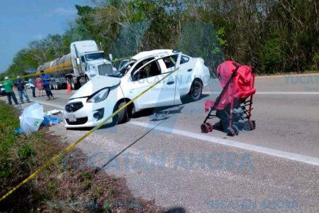 Tragedia familiar en la vía Mérida-Cancún: muere niña de seis años