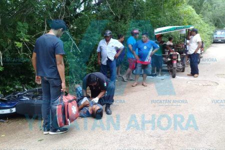 Mototaxi conducido por un menor choca y lesiona a motociclista