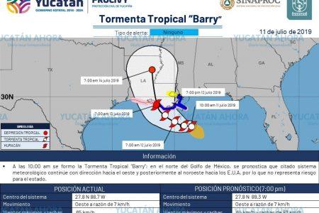 Se forma la tormenta tropical Barry, lejos de Yucatán
