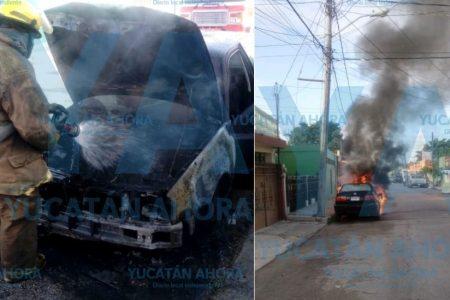 Mañanero incendio de un auto en el centro meridano