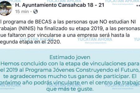 Ayuntamiento de Cansahcab llama 'ninis' a becarios del programa de AMLO