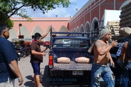 Benefician con bultos de cemento a familias del sur de Yucatán