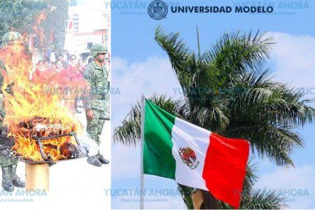 'Antorcha humana' en incineración de Bandera en la Universidad Modelo