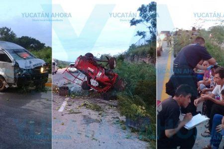 Taxi colectivo provoca aparatosa volcadura con 8 lesionados