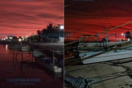 Tormenta en el Golfo de México regala rojo amanecer en Yucatán