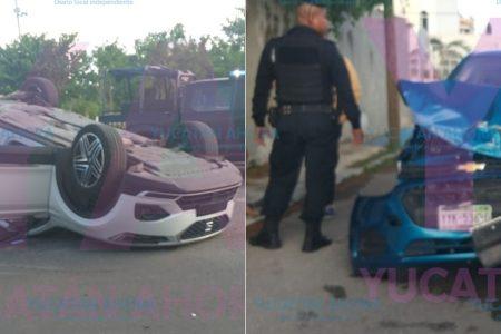 Por 'tarraco' choca contra un auto del año en el norte de Mérida