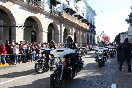 La SSP muestra músculo en el desfile revolucionario de Mérida