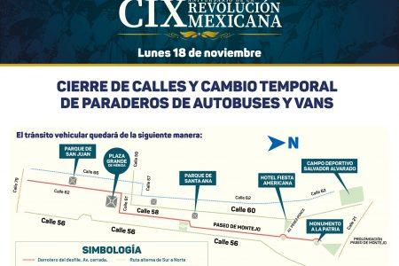 Reubicación de paraderos y cierre de calles por el Desfile del lunes