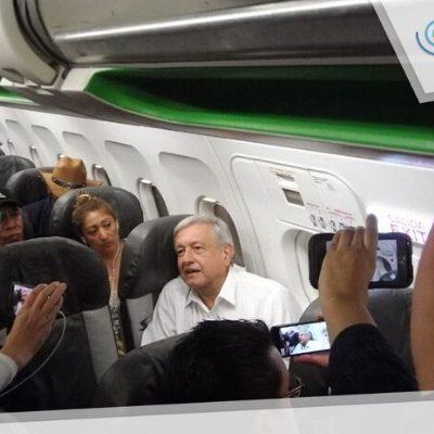 En vuelo a Mérida, piloto pide a AMLO reconsiderar aeropuerto en Texcoco