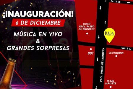 Este viernes 6 de diciembre, inauguración de Luca Music bar en Prolongación Montejo
