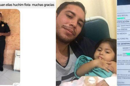 Policía de la SSP le da aliento de vida a un niña enferma