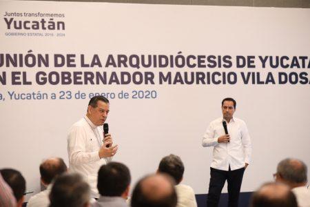Arquidiócesis y Mauricio Vila, juntos a favor de los más necesitados de Yucatán