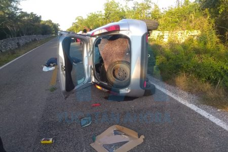 Accidentado paseo de una familia meridana en carretera